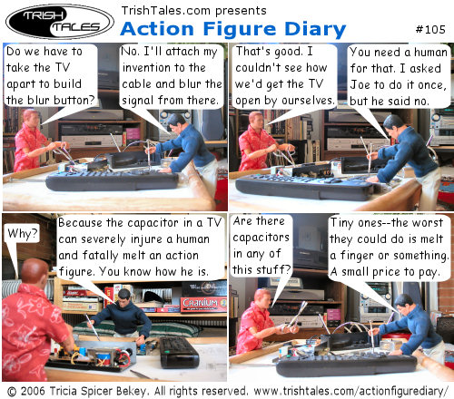 (1) ALEX: Do we have to take the TV apart to build the blur button? BRIAN: No. I'll attach my invention to the cable and blur the signal from there. (2) ALEX: That's good. I couldn't see how we'd get the TV open by ourselves. BRIAN: You need a human for that. I asked Joe to do it once, but he said no. (3) ALEX: Why? BRIAN: Because the capacitor in a TV can severely injure a human and fatally melt an action figure. You know how he is. (4) ALEX: Are there capacitors in any of this stuff? BRIAN: Tiny ones--the worst they could do is melt a finger or something. A small price to pay.